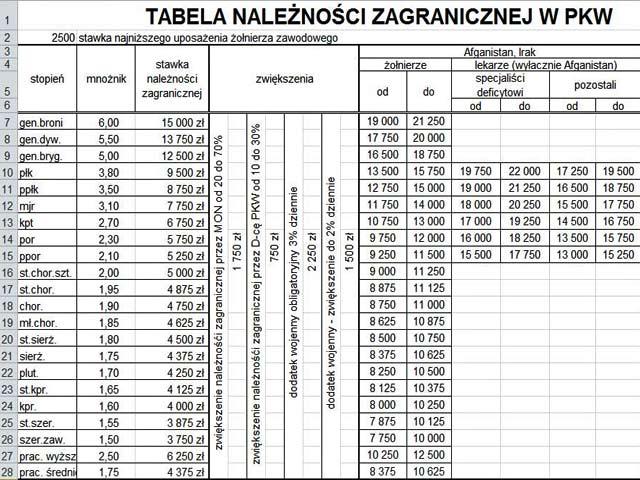 Print screen tabeli z DOSZ