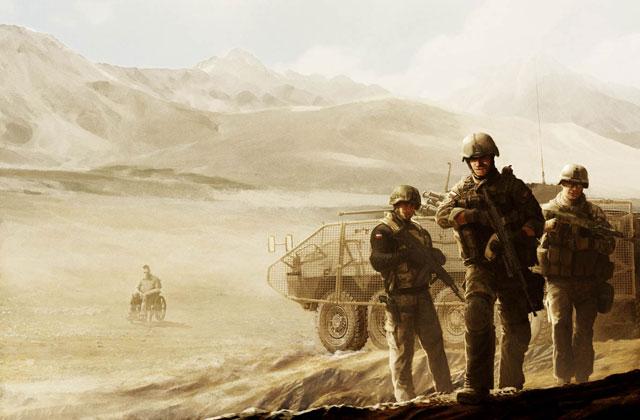 """A tak wygląda oprawa graficzna książki. To obie strony okładki - na przedzie żołnierze w pełnym rynsztunku, na tyle - weteran na wózku. Awers i rewers """"polskiego Afganistanu"""".../rys. Tomasz Tworek"""